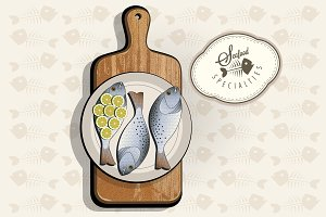 Fish specialties with Cutting Board.