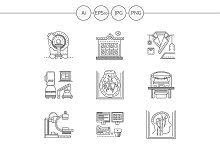 MRI diagnosis line icons. Set 1