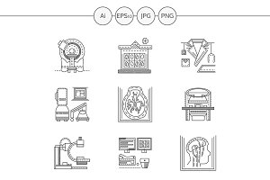 MRI diagnosis line icons. Set 1