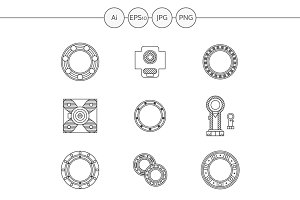 Bearings line vector icons. Set 1