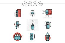 Flat red and blue water cooler icons