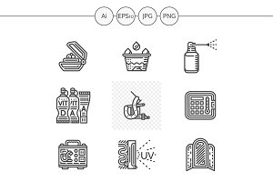 Tattoo equipment line icons. Set 3