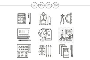 School supplies line vector icons