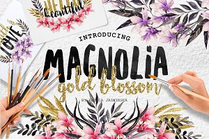 Magnolia Gold Blossom Watercolor Set