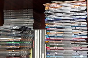 Rows of music cds on the shelf