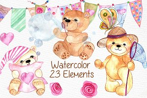 Watercolor teddy bear clipart