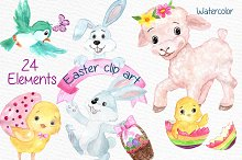 Watercolor Easter kids clipart