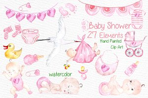 Watercolor baby shower girl clipart