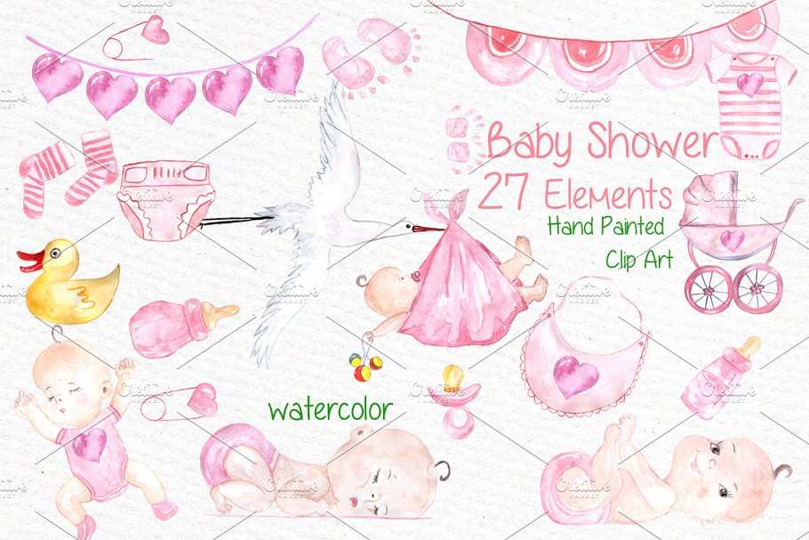 Watercolor Baby Shower Girl Clipart Illustrations Creative Market