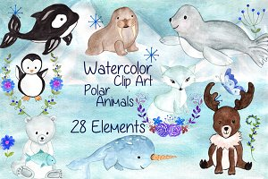 Watercolor polar animals clipart