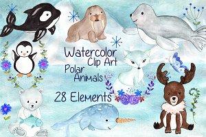 Watercolor polar animals clipart