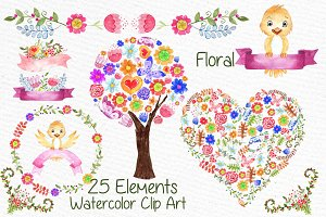 Watercolor kids floral clipart