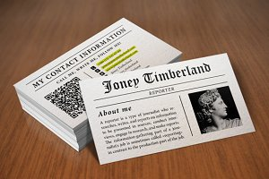 Newspaper (Reporter) Business Card