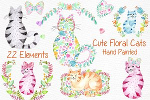 Cute watercolor cats clipart