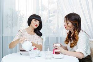 Girlfriends drinking tea.