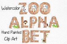 Watercolor animal alphabet clipart