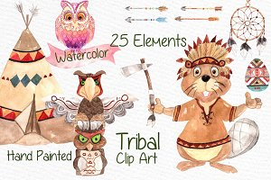 Watercolor kids tribal clipart