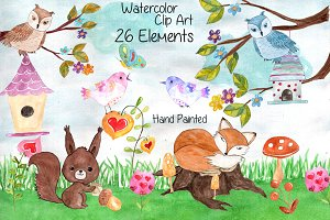 Watercolor forest animals clip art