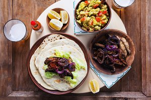 Vegetarian fajitas with mushrooms