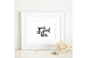 Styled white frame mockup - beach 2