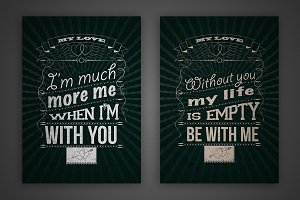 Set of vector love quotes