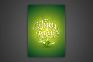 Vector lettering Happy spring