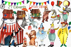 Watercolor circus clipart