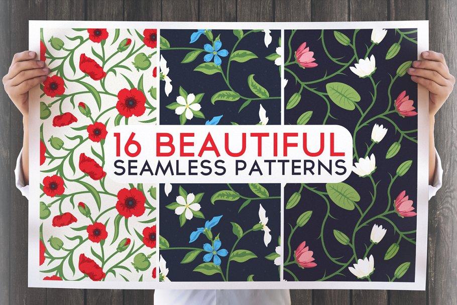 16 Beautiful Floral Seamless Pattern