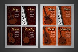 Vector music style cards