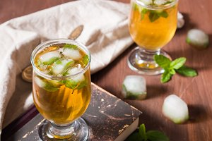 Cold tea with ice and mint leaves