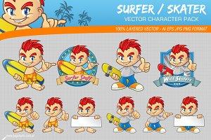 Surfer Skater Character Pack
