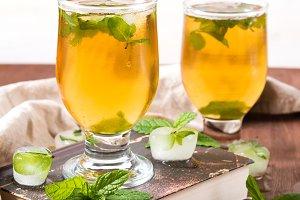 Cold tea in glasses