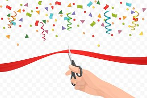 Hand holding scissors cutting ribbon