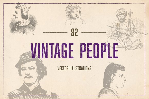 82 Vintage Illustrated People
