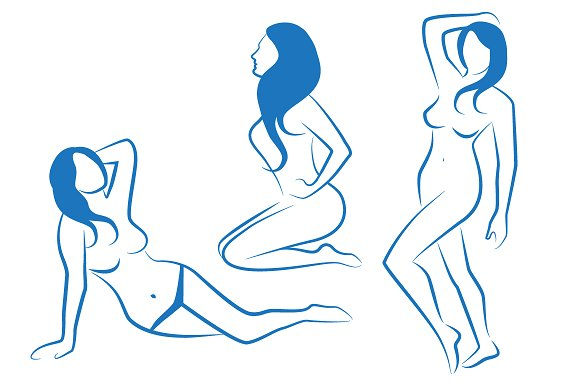 sketches of female silhouettes