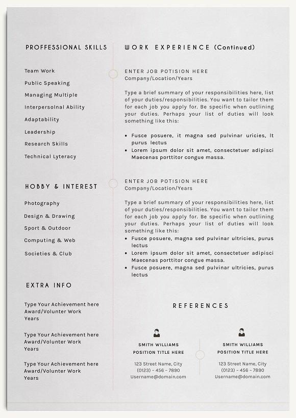 Professional Resume Template Resume Templates Creative Market