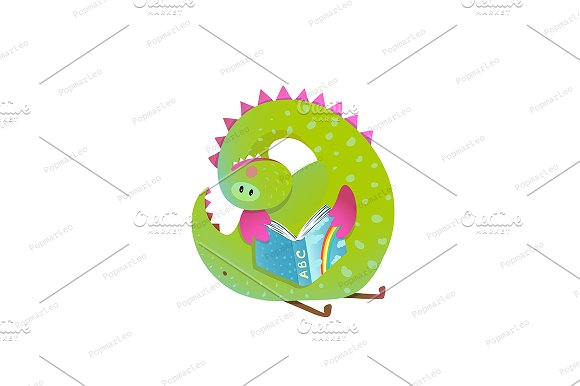 Baby dragon reading book cartoon