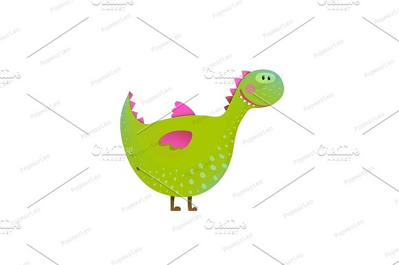 Dragon childish fun cute cartoon in Illustrations