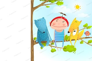 Child animal friends childhood