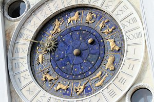Astronomical Clock Tower (Torre dell'Orologio) Details. St. Mark's Square (Piazza San Marko), Venice, Italy. Tilt view.