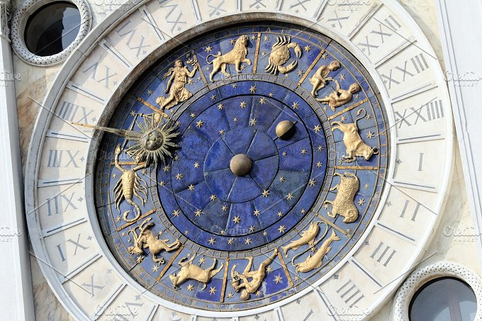 Astronomical Clock Tower (Torre dell'Orologio) Details. St. Mark's Square (Piazza San Marko), Venice, Italy. - Architecture