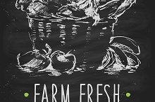Organic product poster on blackboard