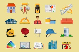 Architect & Construction flat icons.