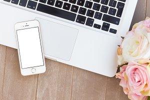 styled desktop with modern phone