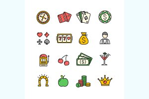 Casino Icon Color Set. Vector