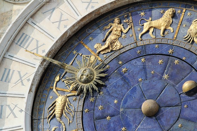 Astronomical Clock Tower (Torre dell'Orologio) Details. St. Mark's Square (Piazza San Marko), Venice, Italy. - Architecture