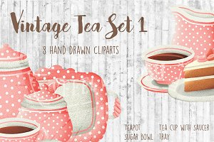 Vintage Tea Set Clipart - 1