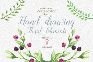 Watercolor Floral Wedding Clipart