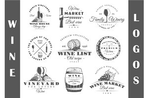 9 Wine logos templates Vol.1