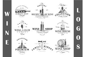 9 Wine Logos Templates Vol.2